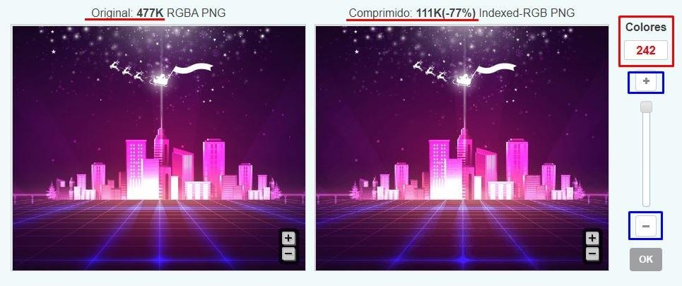 imagen original vs imagen comprimida