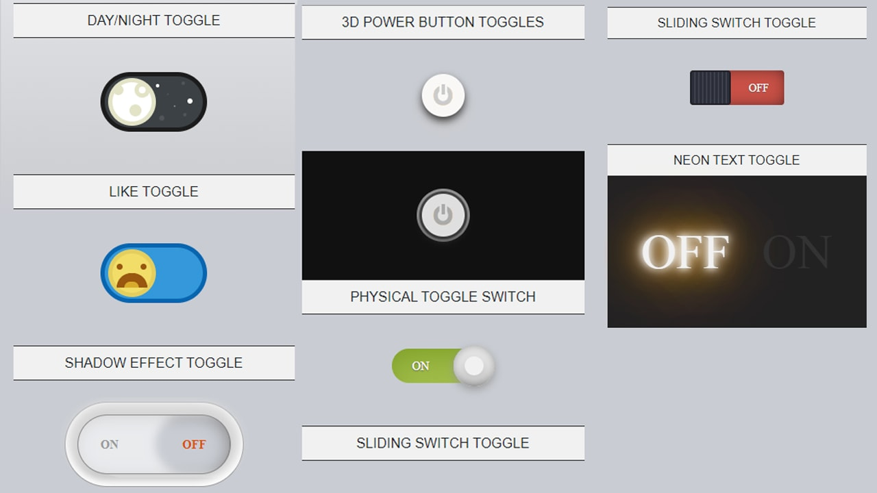 8 Toggle Buttons On - Off only CSS