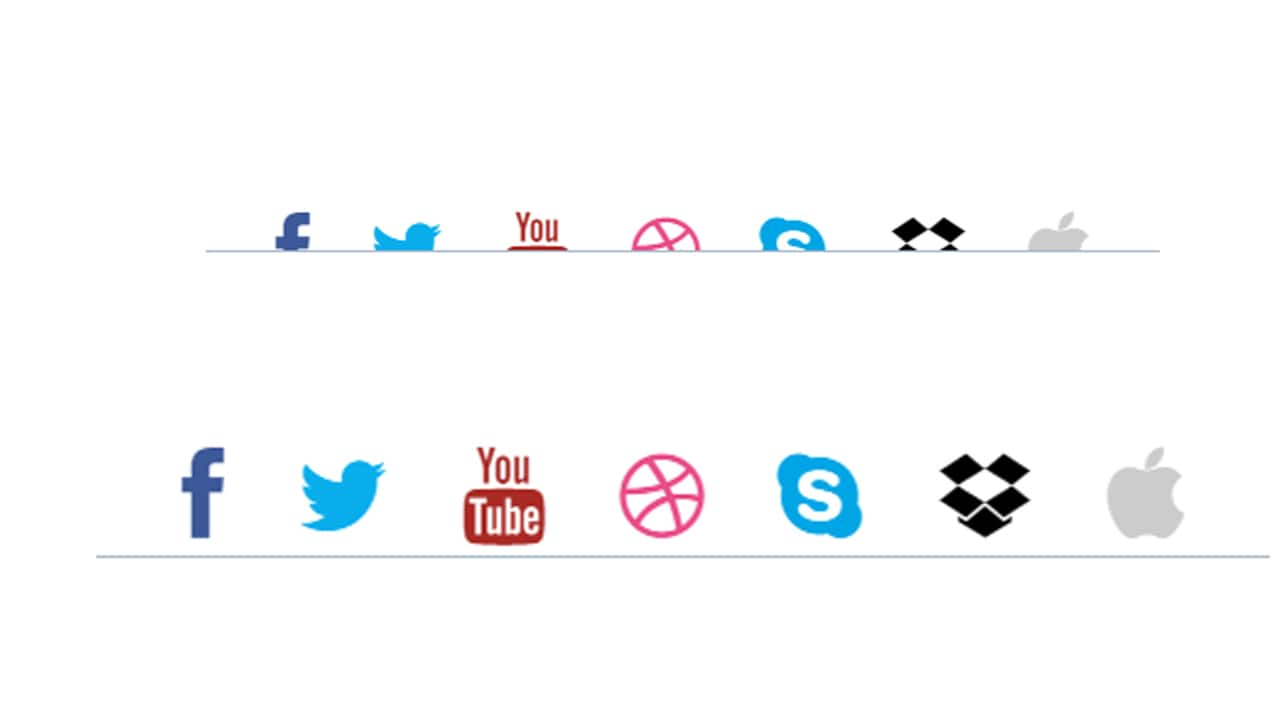 Social Media icon reveal with transition