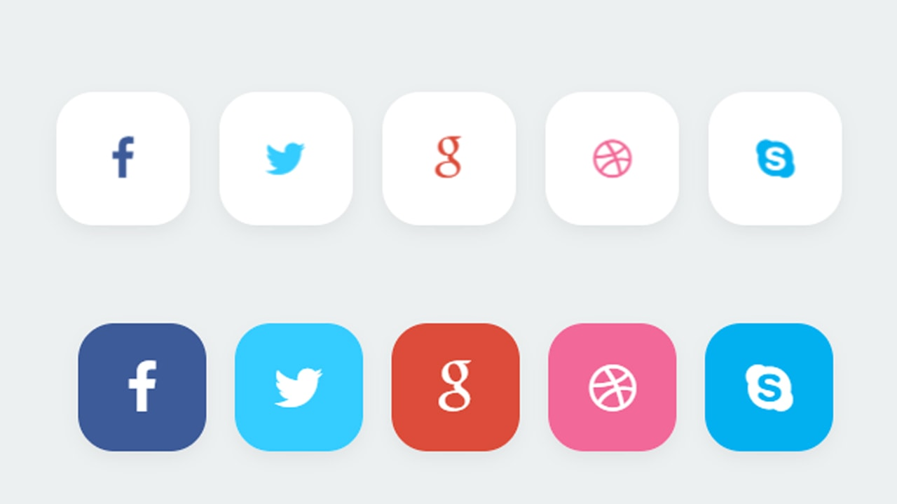 Stylish Social Buttons css hover