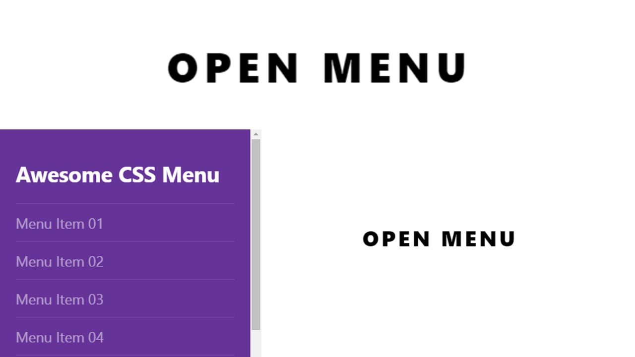 Vertical Menu with overlay only Css
