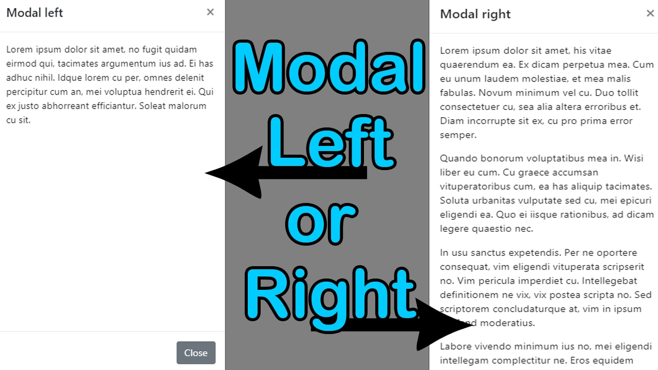 modal left or modal right with bootstrap