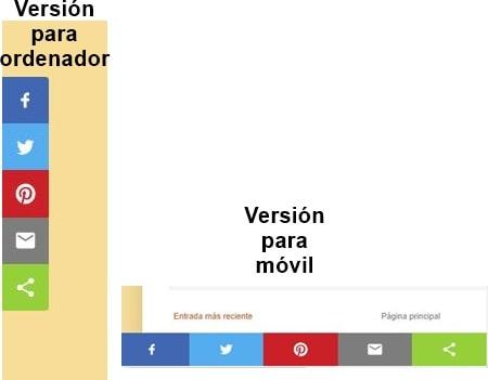 Botones de Compartir en Redes Sociales versión para ordenador y móvil