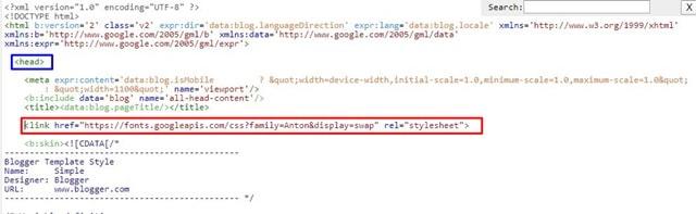 Añadir código de la fuente en blogger