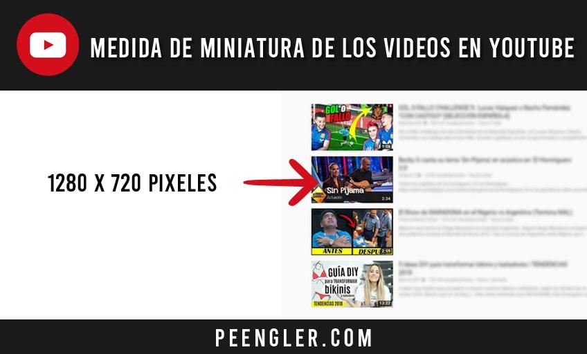Medida de la imagen en miniatura de los vídeos