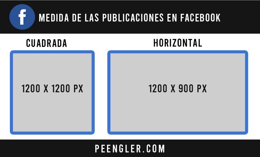 Medida de las PUBLICACIONES CUADRADAS y HORIZONTALES en Facebook