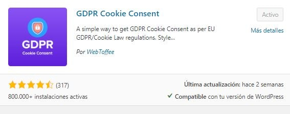 Plugin para el Aviso de Cookies en WordPress