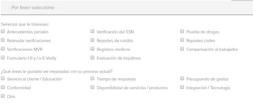 formulario con múltiples de opciones