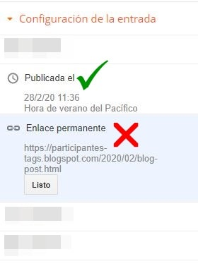 Modificar la URL en Blogger ya publicada