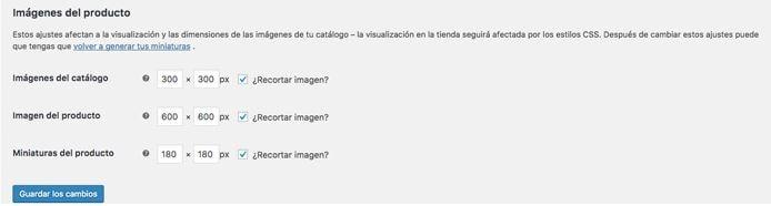 Tamaños de las imágenes de producto en WooCommerce