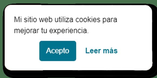 caja de aviso de uso de cookies