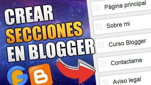 paginas y secciones en blogger