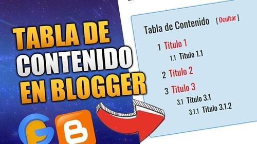 tabla de contenidos en blogger